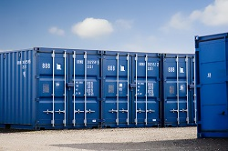 Cargo containers in storage yard